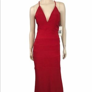 Emerald Sundae Red Body Con Evening Gown Dress